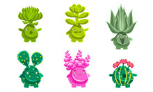 Funny Plants Characters Set, Fantasy Succulents And Cactuses With Various Emotions, Mobile Or Computer Game User Interface Assets Vector Illustration