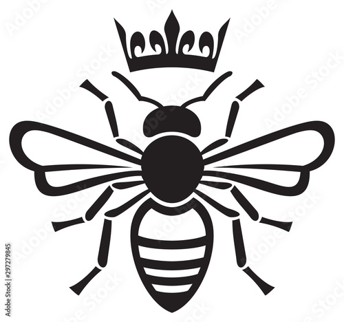 Photo bee queen with crown vector illustration