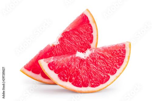 Grapefruit slice isolated on white background close up