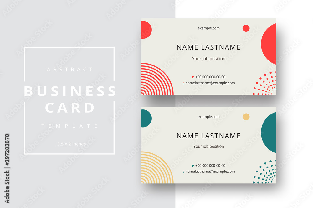 Fototapeta Trendy minimal abstract business card template. Modern corporate stationery id layout with geometric pattern. Vector fashion background design with information sample name text.