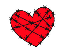 Barbed Wire Heart Shape Icon. ...