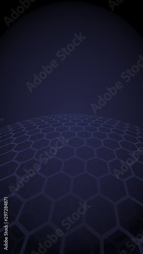 Multilayer sphere of honeycombs, gray on a dark background, social network, computer network, technology, global network. 3D illustration - 297284871