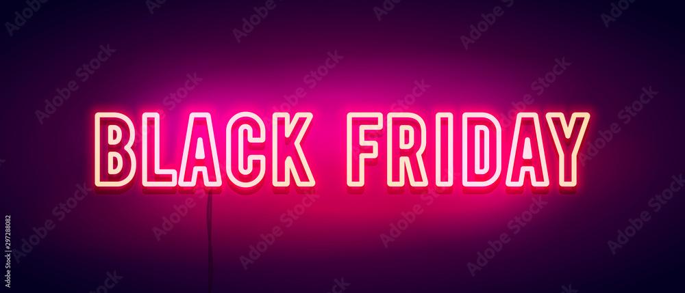 Fototapeta Vector Illustration colorful retro black friday neon light banner.