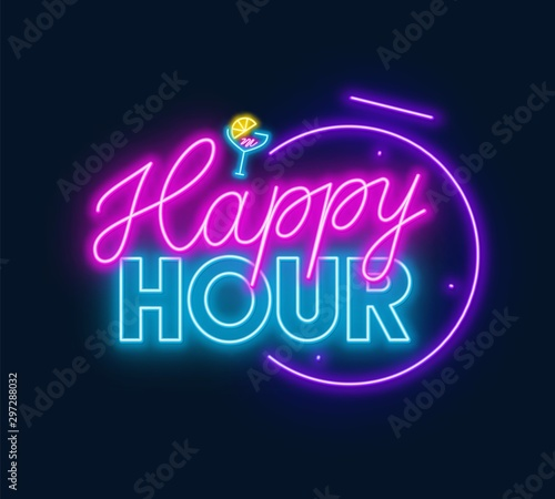 Canvas Print Happy hour neon sign on dark background. Vector illustration.