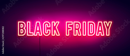 Fotografía  Vector Illustration colorful retro black friday neon light banner