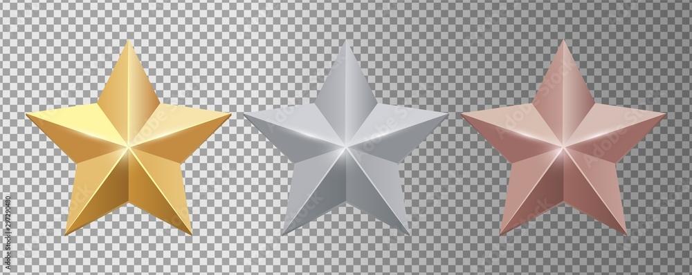 Fototapeta Metal stars. Realistic gold silver bronze stars vector set. Gold star award, golden, silver and bronze illustration