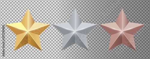 Obraz Metal stars. Realistic gold silver bronze stars vector set. Gold star award, golden, silver and bronze illustration - fototapety do salonu