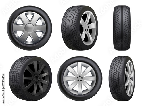 Fototapeta Wheels realistic. Tyres road maintenance vector automobile 3d automobile items collection. Auto wheel tyre, equipment item for car, realistic black rubber tyre illustration obraz