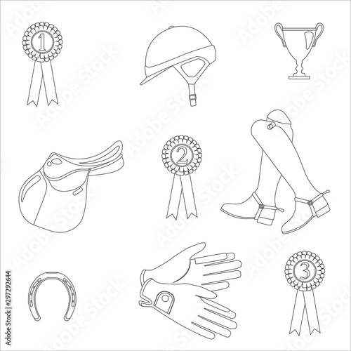 Horse jumping gear - seamless vector pattern on white background Fototapeta