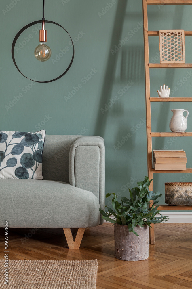 Fototapety, obrazy: Modern composition of living room interior at apartment with mint sofa, wooden ladder, plants, pillow, lamp and elegant accessories. Stylish home decor. Template. Eucalyptus color concept.