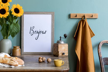 Scandinavian Interior Of Kitchen Space With Wooden Table, Brown Mock Up Photo Frame, Sunflowers, Nuts, Cup Of Coffee And Kitchen Accessories. Template, Ready To Use. Cozy Home Decor.