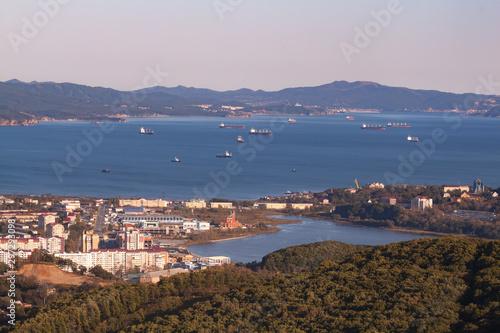 Fototapeta Ships on roadstead in port Nakhodka