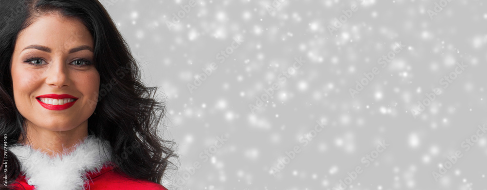 Fototapety, obrazy: Woman in Santa Claus clothes