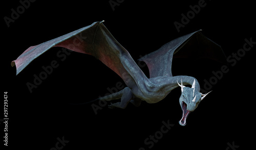 dragon, flying fairy tale animal isolated on black background Wallpaper Mural
