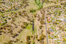 Aerial View Of Umbagong District Park And Ginninderra Creek Between The Suburbs Of Latham And Macgregor In Canberra, The Capital Of Australia
