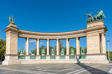Budapest, Hungary - October 01, 2019: Hero's Square Budapest, Hosok Tere, Hungary. It Is Home To Iconic Statuary And Other Important National Leaders, As Well As The Tomb Of The Unknown Soldier.