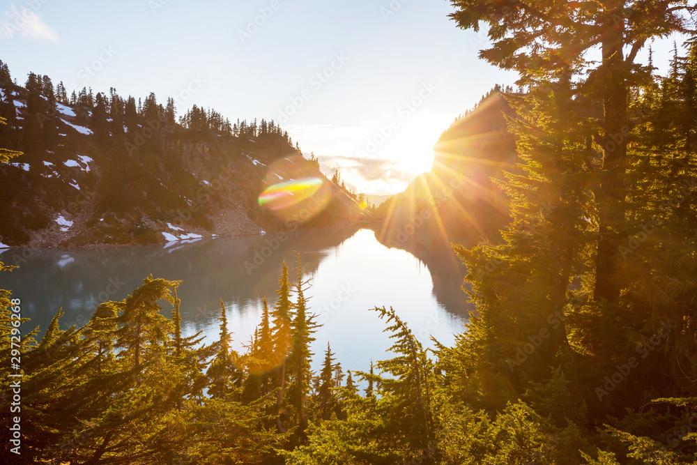 Fototapety, obrazy: Mountains on sunset