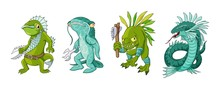 Cartoon Monster Sea Creature Characters Set. Vector Clip Art Illustration