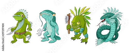 Obraz na plátně Cartoon monster sea creature characters set