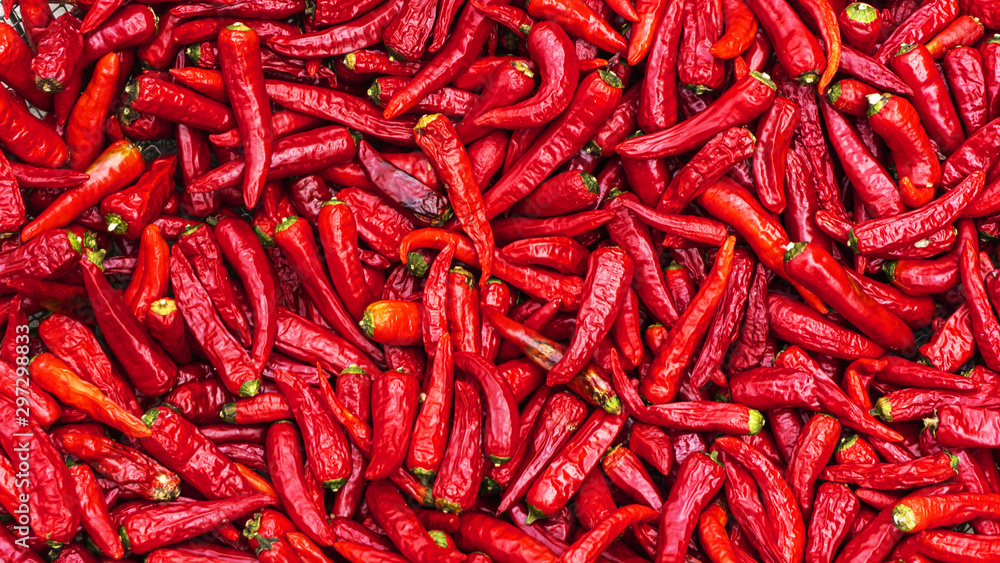 Fototapety, obrazy: Close up group of red hot chilli peppers  pattern texture backgr