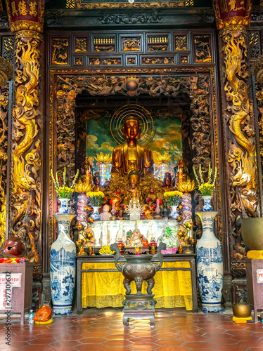 Vinh Trang pagoda near My Tho city, which attracts the spiritual culture of the Wallpaper Mural
