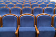 canvas print picture - Blue plush chairs in the auditorium of the theater. The interiors of the concert hall.
