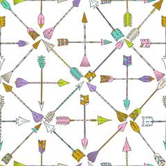 Panel Szklany Podświetlane Wzory geometryczne Arrows pattern. Boho style pattern. Doodle ethnic background. Tribal. Bohemian style. Folk. Ornaments. Fashion. Fabric design.