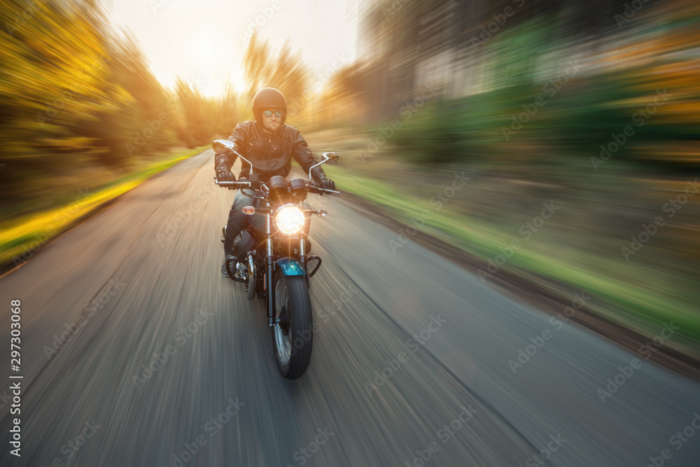 Fototapety, obrazy: Motorcycle driver with blurred motion effect