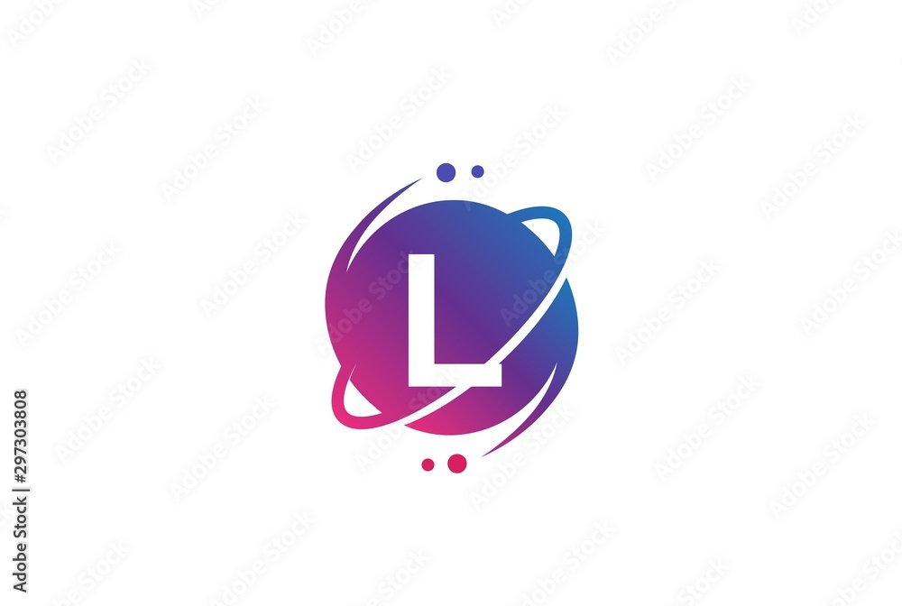 Fototapety, obrazy: Initial letter circle planet with orbit and dots gradient color logo template
