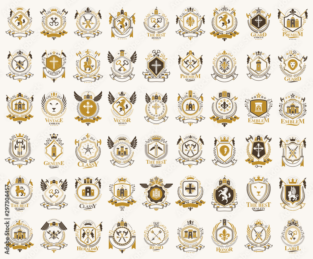 Fototapeta Classic style emblems big set, ancient heraldic symbols awards and labels collection, classical heraldry design elements, family or business emblems.