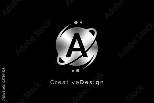 Obraz Minimalist initial logo with planet orbit with metal effect logo template - fototapety do salonu