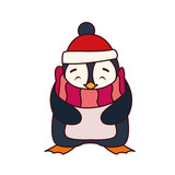 Fototapeta Natura - penguin with hat and scarf in white background