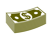 Cash Money Dollar Banknote Stack Vector Simplistic Illustration Icon Or Logo, Business And Finance Theme, Income Taxes Revenue Prize.