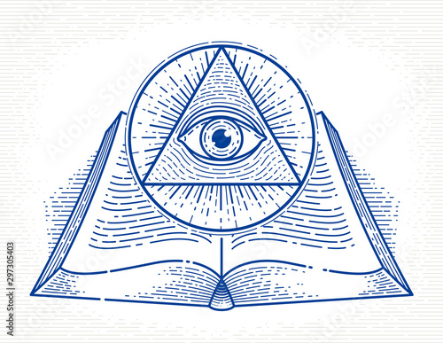 Secret knowledge vintage open book with all seeing eye of god in sacred geometry triangle, insight and enlightenment, masonry or illuminati symbol, vector logo or emblem design element Wallpaper Mural