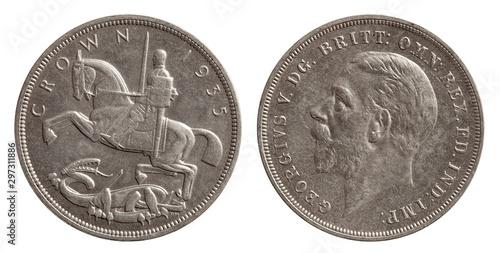 Fotografia  Silver 1 one chrown coin great britain 1935 united kingdom