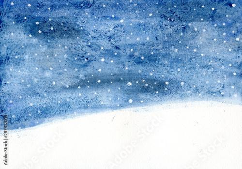 Montage in der Fensternische Blau Jeans Winternacht Aquarell