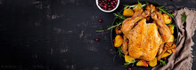 Baked Turkey Or Chicken. The Christmas Table Is Served With A Turkey, Decorated With Bright Tinsel. Fried Chicken. Table Setting. Christmas Dinner. Banner. Top View