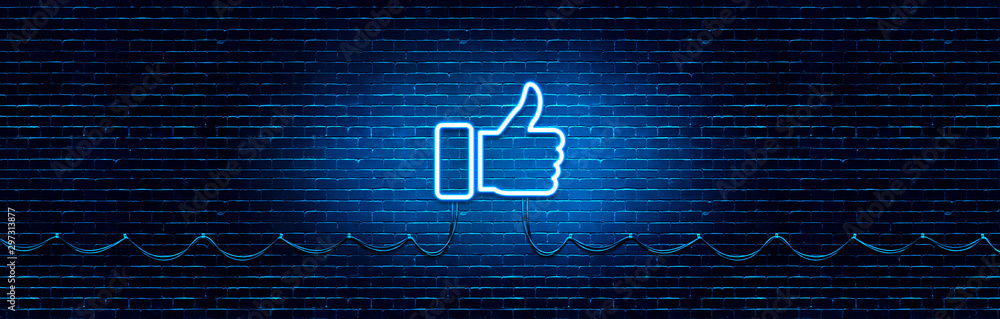 Fototapeta Neon Glowing Like (thumb) Button for Social Media on Brick Wall. Neon Facebook like icon illustration.