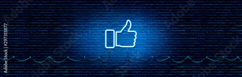 Obraz Neon Glowing Like (thumb) Button for Social Media on Brick Wall. Neon Facebook like icon illustration. - fototapety do salonu