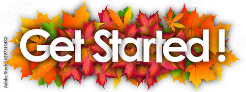 Get Started word and autumn leaves background Canvas Print