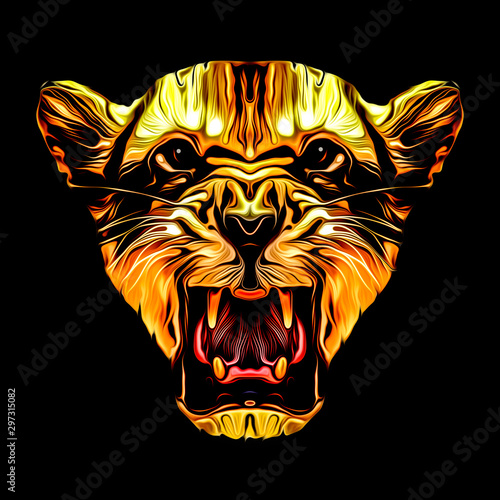 Abstract creative illustration with colorful lion for black background