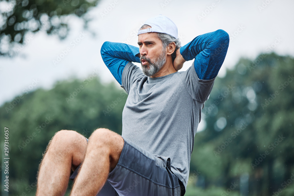 Fototapety, obrazy: senior man running exercising sport fitness active fit crunches