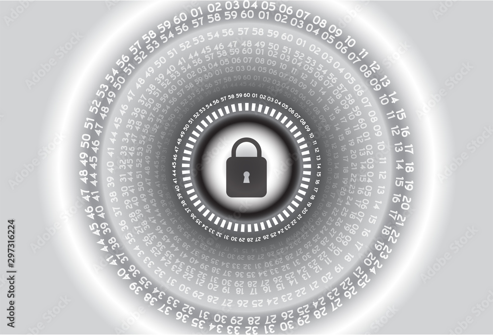 Fototapety, obrazy:  internet digital security technology concept for business background. Lock on circuit board