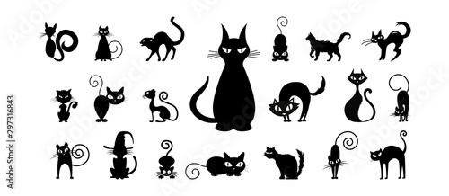 halloween silhouettes black icon and character Tableau sur Toile
