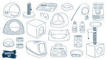 Pet Shop Doodles Set. Cat Care Products. Veterinary Accessories. Cat Food. Pet Supplies. Litter. Scratching Post. Animal. Collar. Litter Tray. Basket. Kitten. Bowls. Grooming. Kennel.