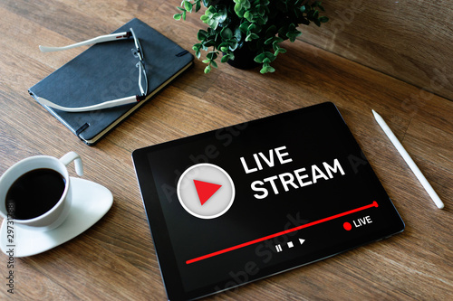 Slika na platnu Live stream transmit or receive video and audio coverage over the Internet