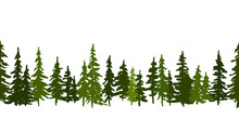 Green Pine Trees. Christmas And New Year Horizontal Vector Seamless Pattern