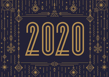 2020 Happy New Year Banner Concept Modern Typography And Holidays Toys Art Deco Gold Style For Poster, Greeting Card, Invitation, Party, Flyer. Vector 10 Eps