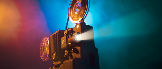 Vintage film projector and film screening