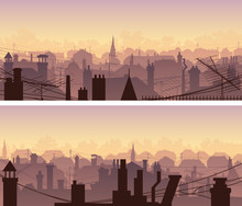 Horizontal Banners Of Downtown Roofs With Antennas And Chimneys At Sunset.
